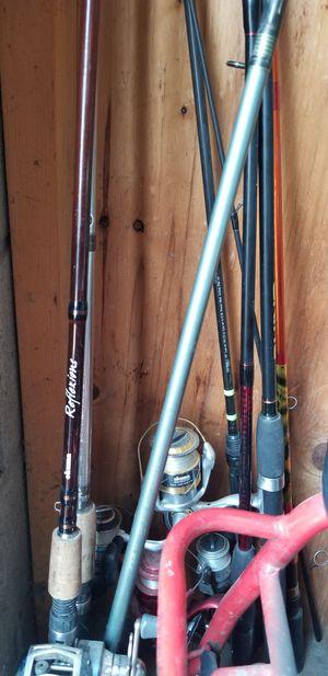 Flueger bait caster , reflixions okuma pole for Sale in Reedley, CA