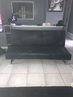 Leather futon couch for Sale in Hanover Park, IL