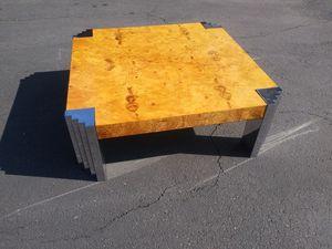 $695 Mid Century Burl Wood Chrome Coffee Table Deco for Sale in Artesia, CA
