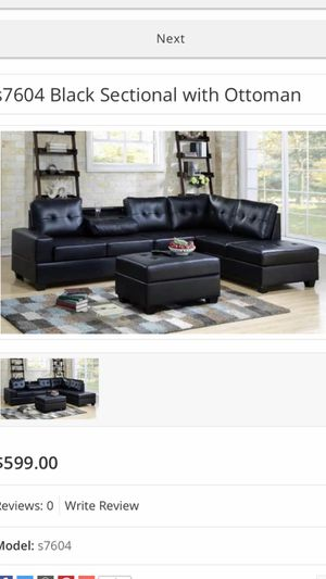 New Black Sectional with Ottoman!!s7604 for Sale in Mesquite, TX