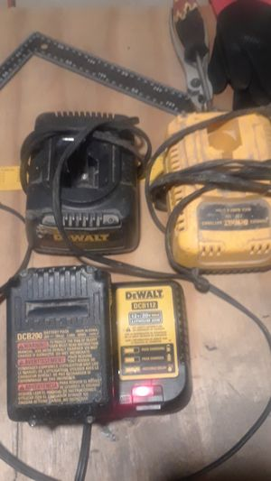 3 dewalt charger 2 18v and 1 20v . And 1 20v battery for Sale in Indianapolis, IN