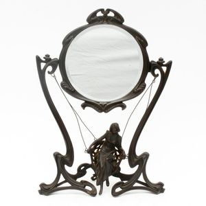 Antique Art Nouveau Bronze Tone Metal Glass Mirror with Swinging Figure for Sale in Nicholasville, KY
