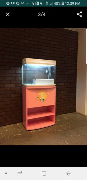 New 25 gallon glass aquarium with cabinet and accessories new for Sale in Los Angeles, CA