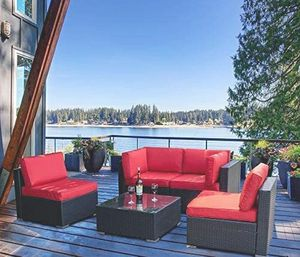 Patio/Outdoor Furniture 5pcs Patio Furniture Sets,Low Back All-Weather Rattan Sectional Sofa w/ Tea Table&Washable Couch Cushions (turquoise & red) for Sale in Hidden Hills, CA
