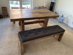 West elm Emmerson Reclaimed Wood Dining Table & Bench for Sale in Oakland, CA