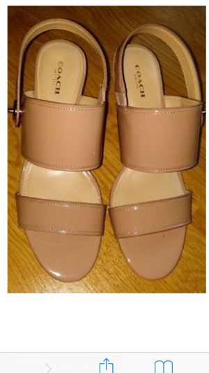 New womens coach sandals heels sling back beige nude dress work shoes 5.5 for Sale in Seattle, WA