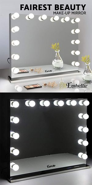 "(NEW) $220 Vanity Mirror w/ 14 Dimmable LED Light Bulbs, Hollywood Beauty Makeup Power Outlet 32x26"" for Sale in El Monte, CA"