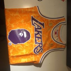 Bape Mitchell & Ness Jersey Yellow Size Small Fits A Medium for Sale in Durham,  NC