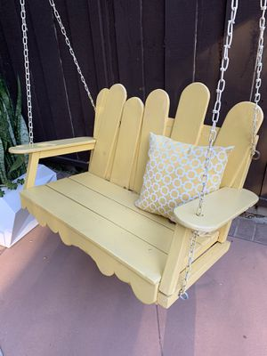 Porch swing wood two seater yellow handmade custom outdoor patio for Sale in Glendale, CA