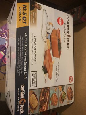 copper chef roaster pan with lid plus grill pan for Sale in Plainfield, IL
