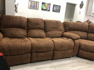 Large suede couch for Sale in Hollywood, FL
