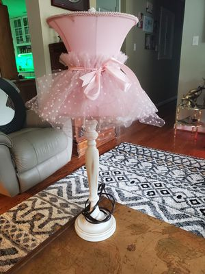 28 inch pink lace white wood lamp for Sale in Saint Charles, MO