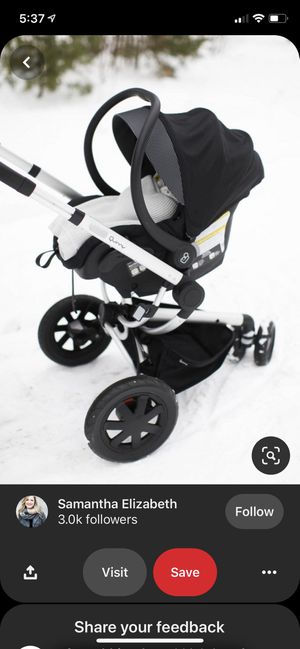As seen on Pinterest! Car seat/Base and stroller system for Sale in Albuquerque, NM