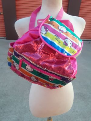 Hello kitty hot pink rainbow sequin backpack carry all bag for Sale in Los Angeles, CA