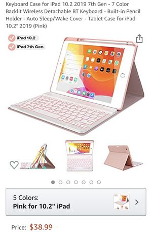 Brand New Keyboard Case for iPad 10.2 2019 7th Gen - 7 Color Backlit Wireless Detachable BT Keyboard - Built-in Pencil Holder - Auto Sleep/Wake Cover for Sale in Pittsburgh, PA