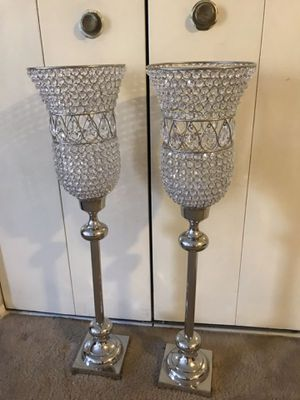 """Set of2 crystal candle holder centerpiece 37"""" tall large size click on my profile picture choose my offers for more listings inbox me for Sale in Gaithersburg, MD"""