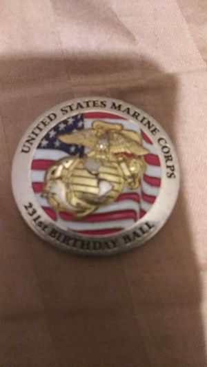 Commemorative coin celebrating the Marine Corps 231st birthday ball silver colored coin two-sided enamel painted for Sale, used for sale  Bensalem, PA