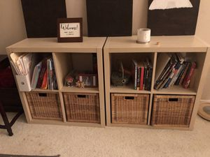 2 square wooden bookshelves cupboard with 4 baskets for Sale in Bloomington, CA