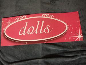 """"""" Dolls """" vintage sign / pink / barbie dolls sign / store / oval for Sale in Naples, FL"""