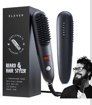 Straightener For Men - 2-1 Heated Beard Brush & Hair Straightener with BONUS pouch | Fast, Anti-fizz, Ionic Beard Comb. Powerful Beard Straightening for Sale in Burke, VA