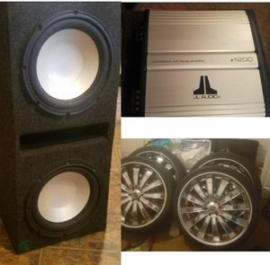 I have two 12 speakers 1200 watt JL Audio amp 26 inch rims 6 lugs for 1100 Everything Must Go in good condition for Sale in Nashville, TN