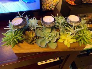 Succulent arrangement (fake plants) candle holder for Sale in Princeton, FL