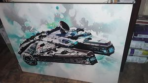 Holiday special with large Custom Canvas of the Millennium Falcon 4 by 3 feet amazing work signature unknown will take 650 free delivery for Sale in Houston, TX