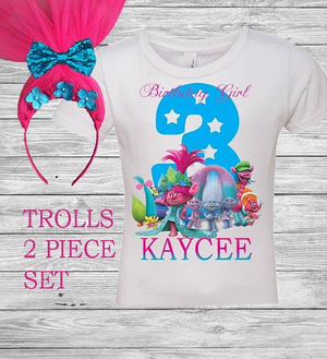 Trolls 2 piece birthday outfit for Sale in Columbus, OH