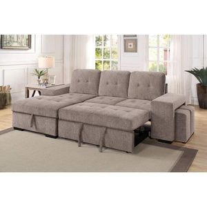 LIGHT GRAY FABRIC SECTIONAL STORAGE CHAISE SOFA BED / SILLON CAMA SECCIONAL for Sale in Temecula, CA