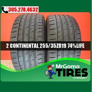 2 CONTINENTAL CONTISPORTCONTACT 3 RO1 XL 255/35/19 USED TIRES 7.4/32 BMW 2553519 for Sale in Palmetto Bay, FL