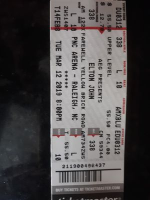Elton john tickets for Sale in Raleigh, NC