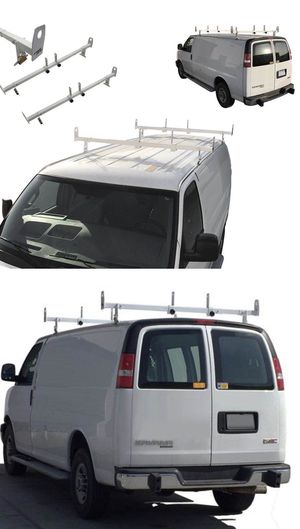 New in box adjustable 2 bars rain gutter mount ladder rack with ladder stopper for Sale in Covina, CA