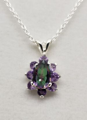 Natural Mystic Topaz & Amethyst Flower Necklace for Sale in Justin, TX