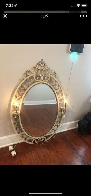 Large Tole Mirror - Metal Flower Lights Up. 49 X 32 for Sale in Tampa, FL