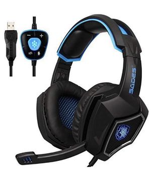 New Updated SADES Spirit Wolf 7.1 Surround Stereo Sound USB ComputerGaming Headset with Microphone,Over-the-Ear Noise Isolating,Breathing LED Light F for Sale in La Puente, CA