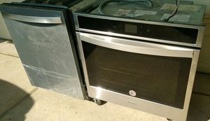 MATCHING STAINLESS WHIRLPOOL SINGLE WALL OVEN, DISHWASHER WITH 3rd RACK for Sale in Spring, TX