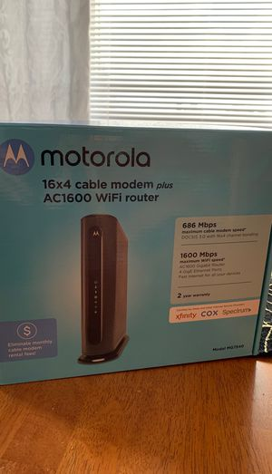 Motorola cable modem plus AC1600 WiFi Gigabit Router Model MG7540 for Sale in Pittsburgh, PA