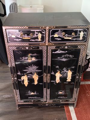 Mid Century 1950-1960s Japanese black lacquer cabinet/hutch for Sale in Los Angeles, CA