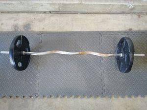 Standard Curl Bar W/55lbs Gold's Gym Plates for Sale in Gilbert, AZ