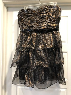 Soft black silver bronze leopard print short strapless dress ruched with belt size large for Sale in Tempe, AZ