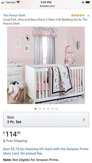 Nursery Set (Like New!) Floral (Pink, Gray, Navy) for Sale in Lakewood, CA