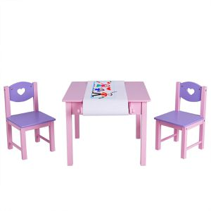 Kids Art Table and 2 Chairs Set with Paper Roll Rack & 2 Drawers for Painting for Sale in Los Angeles, CA