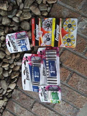 Energizer Batteries AA .AAA lithiumlom and the hearing aid/watch batteries all hrsmd new for Sale in Aurora, CO
