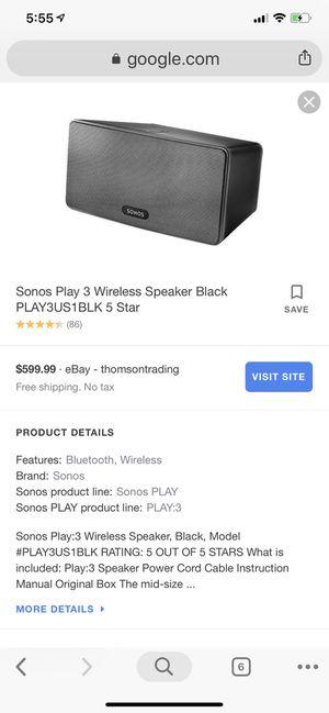 Sonos play 3 wireless speaker like new for Sale in Scottsdale, AZ