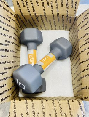 New CAP (2) 10 lb Pound Pair Hex Neoprene Dumbbell Weights 20 lb total for Sale in Miramar, FL