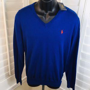 Polo Ralph Lauren V-Neck Light Pima Pullover Sweater, Blue - Men's M - Brand New w/Tags $98.50 for Sale in Glendale, AZ