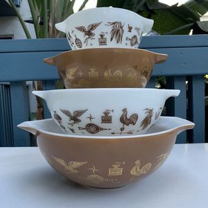 Vintage Pyrex Cinderella Mixing Bowls early American set for Sale in Huntington Beach, CA