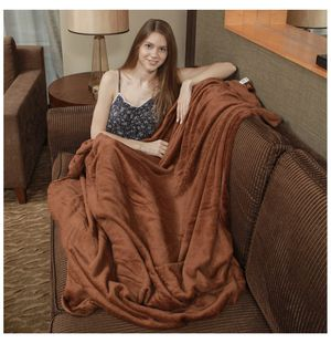 Flannel Fleece Blanket Premium Quality Plush Throw Bed Blanket Soft and Cozy Throw for Bed Couch Sofa, Brown 5060IN for Sale in Tempe, AZ
