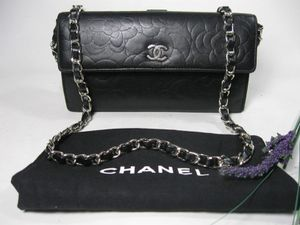 Chanel Black Floral Lambskin Leather CC Long Bag Wallet for Sale in Johnsburg, IL