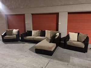 Tan Microfiber Sectional Couch Set w/two swivel chairs -I can deliver for Sale in San Diego, CA